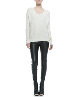 Vince Brick-Pattern V-Neck Sweater & Smooth Leather Leggings