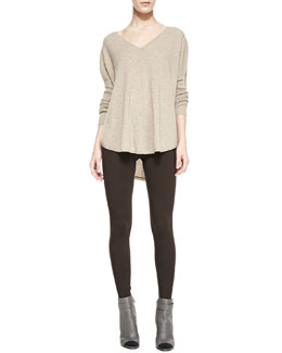Vince Front Seam V-Neckline Cashmere Sweater & Scrunch Ankle Jersey Leggings