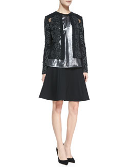 Nanette Lepore Protagonist Embroidered Sheer-Inset Jacket, All Nighter Metallic Sleeveless Top & Author Jersey Flared Skirt