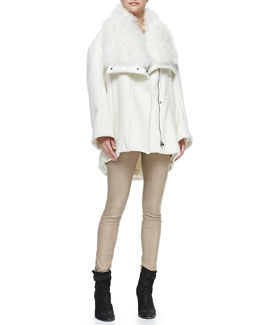 Helmut Lang Inclusion Fur-Collar Felt Coat, Kinetic Jersey Long-Sleeve Top & Contrast-Waist Leather Leggings