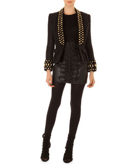 Balmain Embellished Short Tuxedo Jacket, Sheer-Stripe Top & Leather Laced-Front Skirt