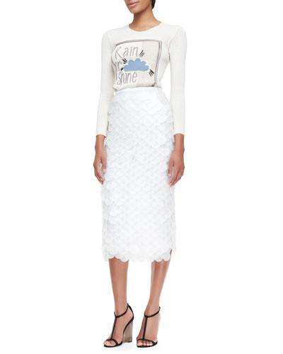 Rain or Shine Graphic Knit Top & Oversize Sequin Pencil Skirt