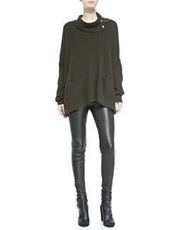 Vince Oversize Snap-Turtleneck Sweater & Smooth Leather Leggings