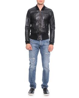 Leather Bomber Jacket & Destroyed Washed Denim Jeans