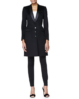Satin-Lapel Tailored Evening Coat & Skinny-Leg Tuxedo-Stripe Trousers