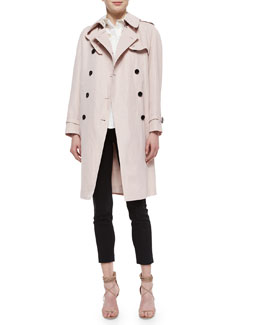 Double-Breasted Trenchcoat, Sheer-Dot Wide-Placket Shirt & Skinny-Leg Tuxedo-Stripe Trousers