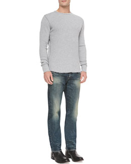 Waffle-Knit Crewneck Shirt & Faded Wash Denim Jeans