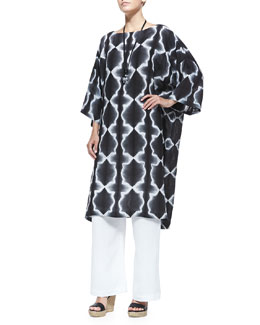 3/4-Sleeve Printed Tunic Dress, Wide-Leg Drawstring Pants & Large Smooth Chrysoprase Pendant Necklace