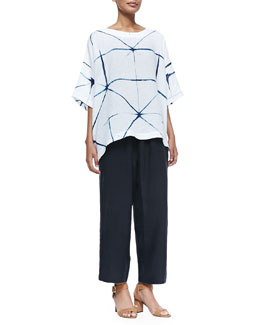 3/4-Sleeve Tie-Dyed Tunic & Linen Japanese Trousers