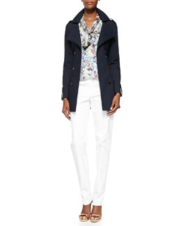 Bonded Double-Breasted Trench Coat, Botanical Floral-Print Tie-Front Blouse & Stretch Cotton-Blend Skinny Pants