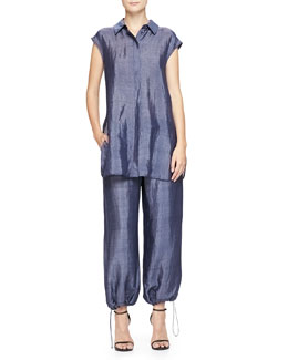 Micro-Striped Hidden-Placket Tunic & Drawstring-Hem Pants