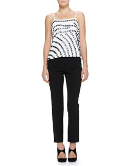 Square-Embellished Camisole Top & Elastic-Waist Slim Pants
