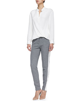 Draped Tuck-In Blouse & Trapunto-Striped Track Pants