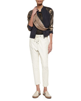 Colorblock Satin & Metallic Track Jacket, Rubberized Open Weave Top & Pull-On Napa Leather Pants