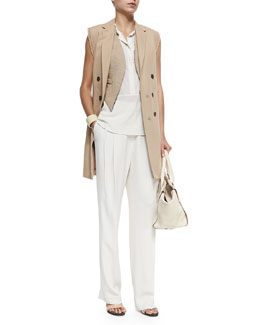 Open-Front Jute Vest W/ Fringe, Long Double-Breasted Vest W/ Fringe, Sleeveless Hidden-Placket Silk Henley Blouse & Wide-Leg Pleated Crepe Pants