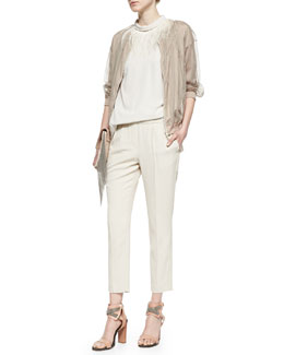Shimmer Gauze Zip Jacket, Feather-Trimmed Halter-Neck Top & Crepe Pull-On Pants