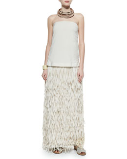 Strapless Layered Fringe Gown, Multi-Strand Leather Necklace & Leather Cuff Bracelet