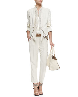 Cropped 3-In-1 Tux Jacket, Vest with Ostrich Feather Placket, Lamé Scoop-Neck Tank, Crepe Pull-On Pants