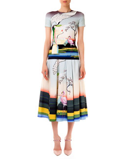 Short-Sleeve Fitted Flamingo Tee & Long Skirt