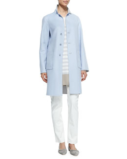 Cashmere Classic Single-Breasted Reversible Coat, Cashmere Knit Colorblock Striped Tunic & Mathias High-Rise Straight-Leg Jeans