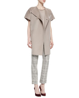 Double-Faced Wool-Cashmere Cocoon Jacket, Cap-Sleeve Satin-Trim Top & Prince of Wales Wide-Cuff Pants