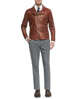 Oiled Calfskin Jacket, Button-Down-Collar Shirt & Double-Pleated Wool Trousers