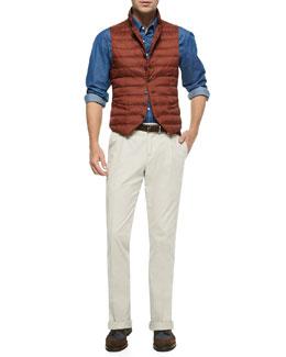 Nylon Notch-Lapel Vest, Chambray Button-Down Shirt & Woven Single-Pleated Pants