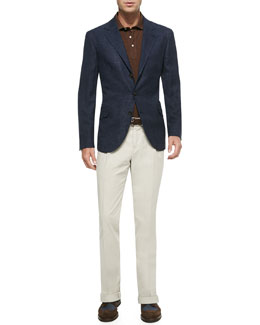 Woven Windowpane Sport Coat, Fine Pique Polo Shirt & Woven Single-Pleated Pants