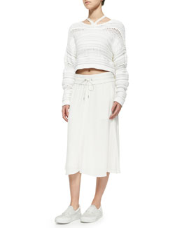 Mixed-Knit Cropped Pullover Sweater, High-Neck Cut-In Sports Bra & Blaze Pull-On Drawstring Skirt