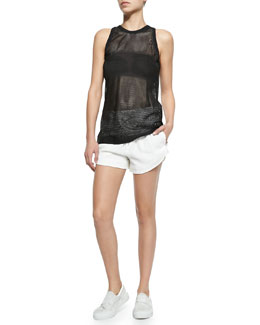 Sleeveless Mesh Lambskin Leather Top & Blaze Drawstring Shorts with Shirred Waistband