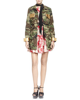 Camouflage Belted Military-Style Jacket, Draped Kimono Floral Dress & Embellished Leather Belt with Round Buckle