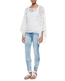 Roderick Open Soutache Poncho, Teaser Scoop-Neck Ribbed Tank & 400 Matchstick Distressed Denim Jeans