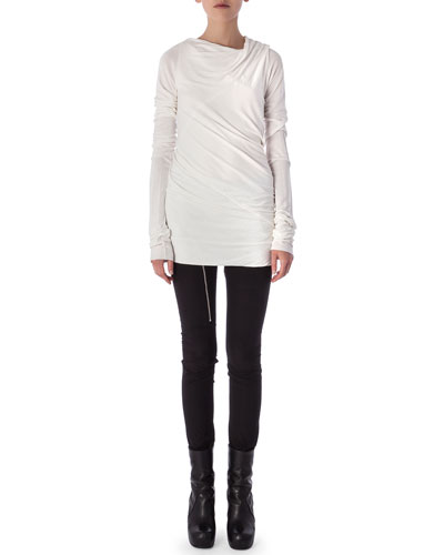 Aircut Moderate-Rise Leggings in Stretch Knit & Long-Sleeve Draped Top