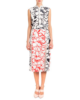 Sleeveless Button-Down Floral Blouse & Bicolor Floral Midi Skirt