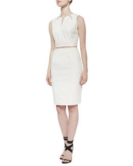 Geometric Cutout Crop Top & Slim Gabardine Pencil Skirt, Cream