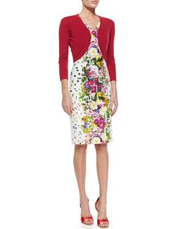 Wool-Blend Knit Bolero & Floral Confetti-Print Sheath Dress