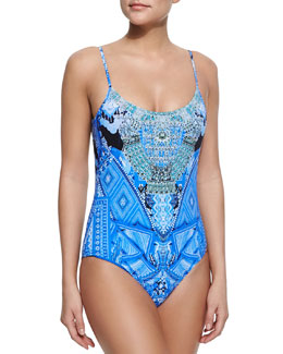 One-Piece Swimsuit Embellished with Crystals & Full-Length Coverup Circle Skirt