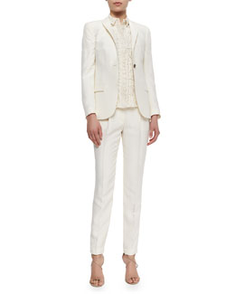 One-Button Fitted Silk Blazer, Short-Sleeve Lace Button Blouse & Slim Tailored Silk Trouser,