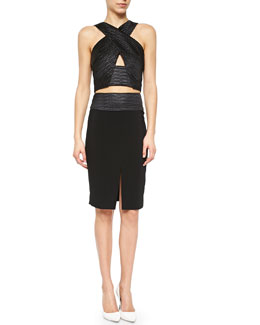 Embossed Crisscross-Front Crop Top & Front-Slit Woven Pencil Skirt