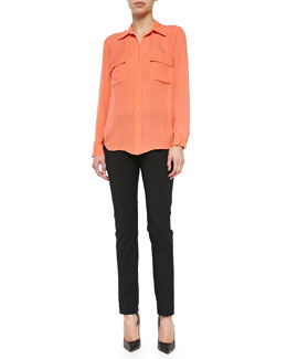 Long-Sleeve Two-Pocket Silk Blouse & Tara Tech-Cotton Woven Pants