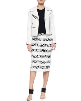 Anouk Leather Zipper Jacket, Gordon Cropped Sleeveless Crepe Top & Della Striped Netted Pencil Skirt