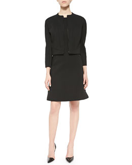 Bonded Crepe Zip Jacket & Cap-Sleeve Dress