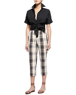 Short-Sleeve Wrap-Front Blouse & Plaid Mid-Calf Skinny Pants
