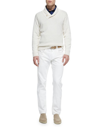 Shawl-Collar Pullover Sweater, Windstorm Stretch Shirt & Five-Pocket Denim Jeans