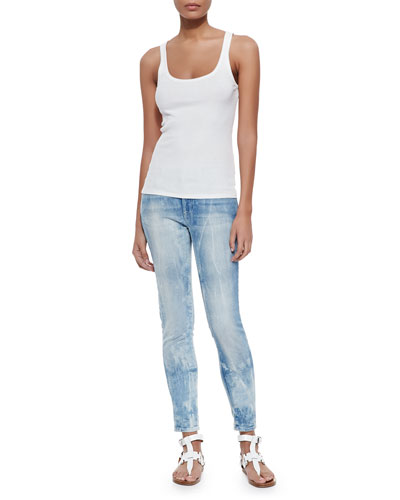 Teaser Coop-Neck Ribbed Tank & 400 Matchstick Distressed Denim Jeans