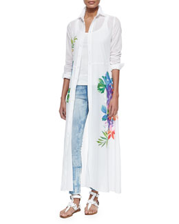 Adabella Floral-Print Shirtdress, Teaser Scoop-Neck Ribbed Tank & 400 Matchstick Distressed Denim Jeans