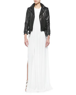 Zerignola Lamb Leather Jacket & Cap-Sleeve Pleated Long Dress