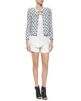 Handi Stretch-Woven Diamond-Pattern Jacket, Doris Sleeveless Perforated Linen Top & Woven Leather Braided-Detail Shorts