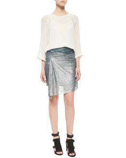 Pintuck-Trim Sheer Blouse & Metallic Mesh Knit Hook Skirt