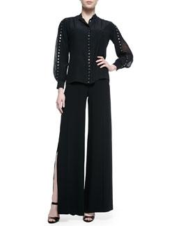 Grommet Studded Accordion-Sleeve Blouse & Wide-Leg Side-Slit Trouser, Black